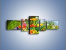 Obraz na płótnie – Bańkowy świat kwiatów – pięcioczęściowy K691W6