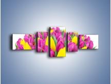 Obraz na płótnie – Bukiet fioletowo-żółtych tulipanów – pięcioczęściowy K778W6
