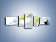 Obraz na płótnie – Białe kwiaty w potoku – pięcioczęściowy K991W6
