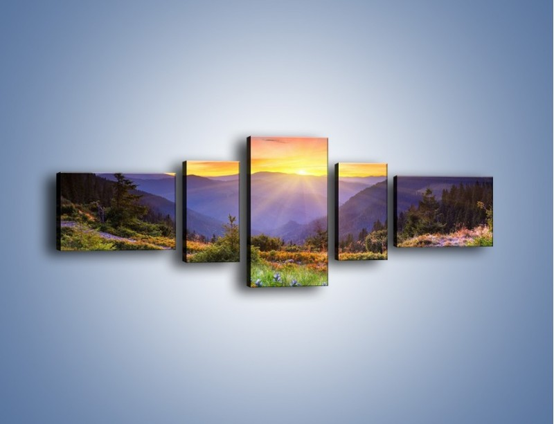 Obraz na płótnie – Góry o zachodzie słońca – pięcioczęściowy KN014W6