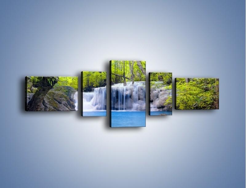 Obraz na płótnie – Mały leśny wodospad – pięcioczęściowy KN057W6