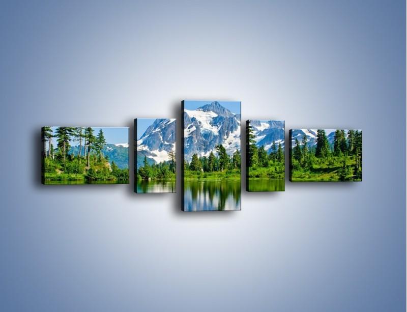 Obraz na płótnie – Lustrzane odbicie z gór – pięcioczęściowy KN1049W6