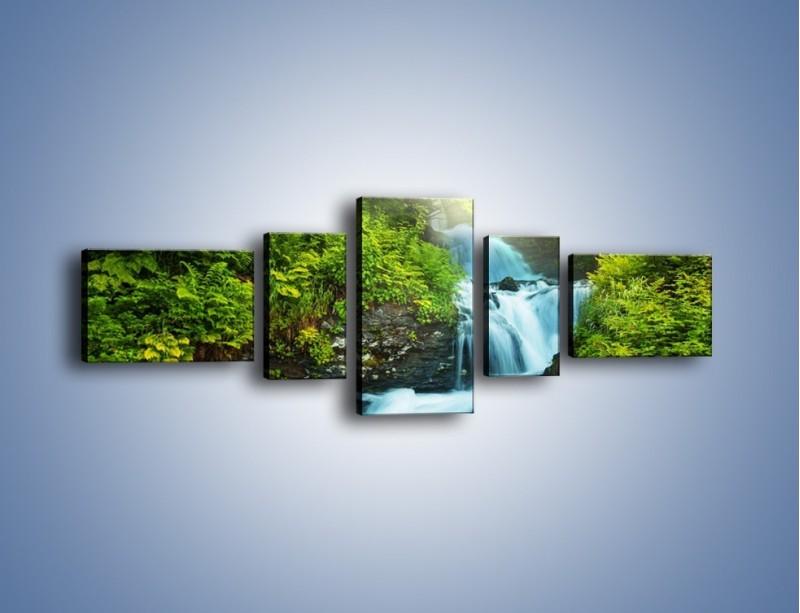 Obraz na płótnie – Spływ wodny i zieleń – pięcioczęściowy KN1069W6