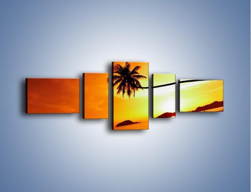 Obraz na płótnie – Palma o zachodzie słońca – pięcioczęściowy KN1077W6