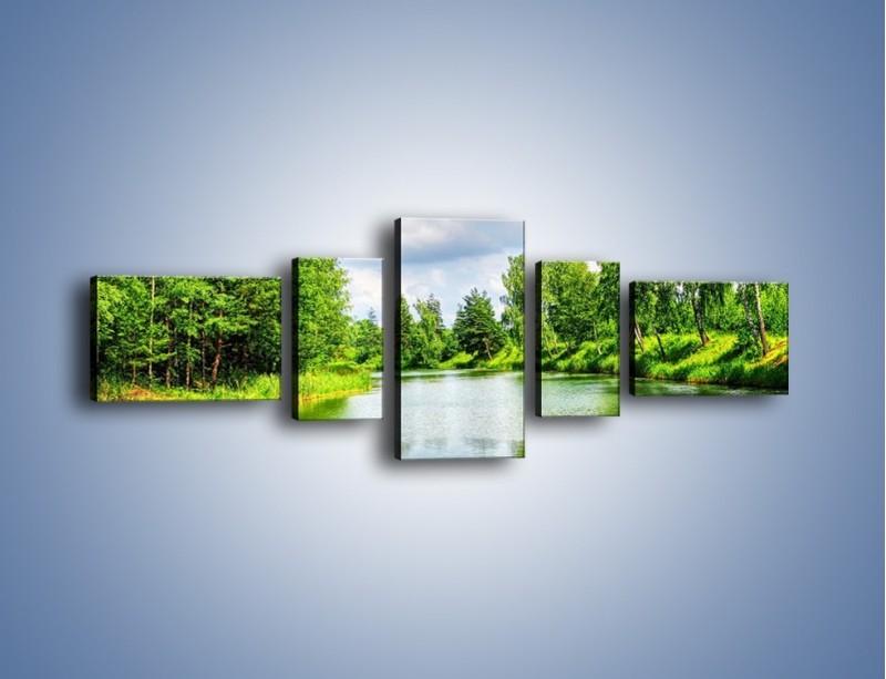 Obraz na płótnie – Spokojna woda i las – pięcioczęściowy KN1086W6