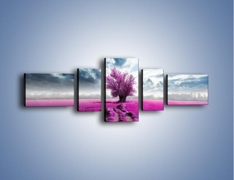 Obraz na płótnie – Lawendowe drzewo – pięcioczęściowy KN1093W6
