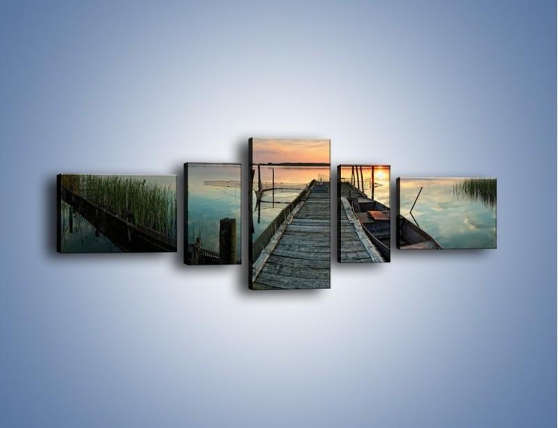 Obraz na płótnie – Stary most i łódź – pięcioczęściowy KN1096AW6