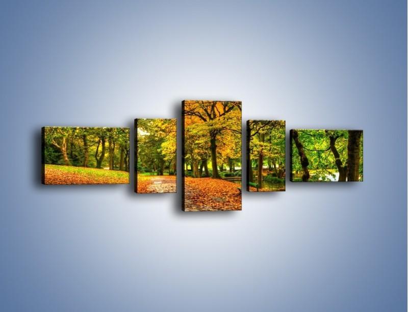 Obraz na płótnie – Piękna jesień w parku – pięcioczęściowy KN1098AW6