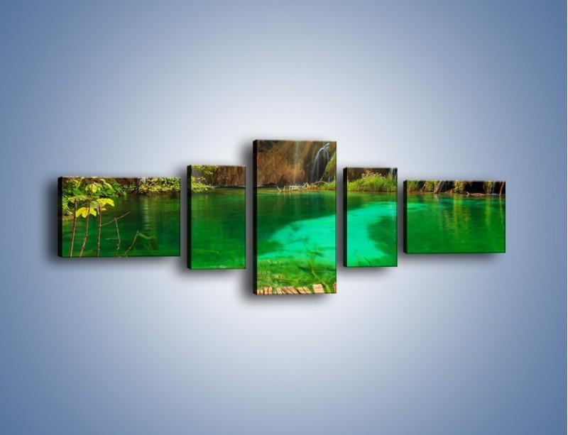 Obraz na płótnie – Zielone oczko wodne i drewno – pięcioczęściowy KN1149AW6