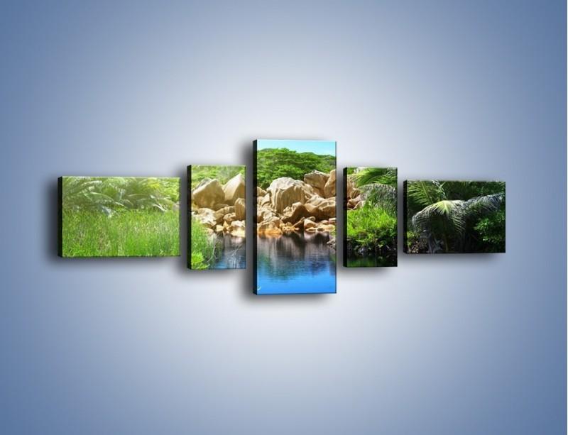 Obraz na płótnie – Wapienne skałki na wodzie – pięcioczęściowy KN1188AW6