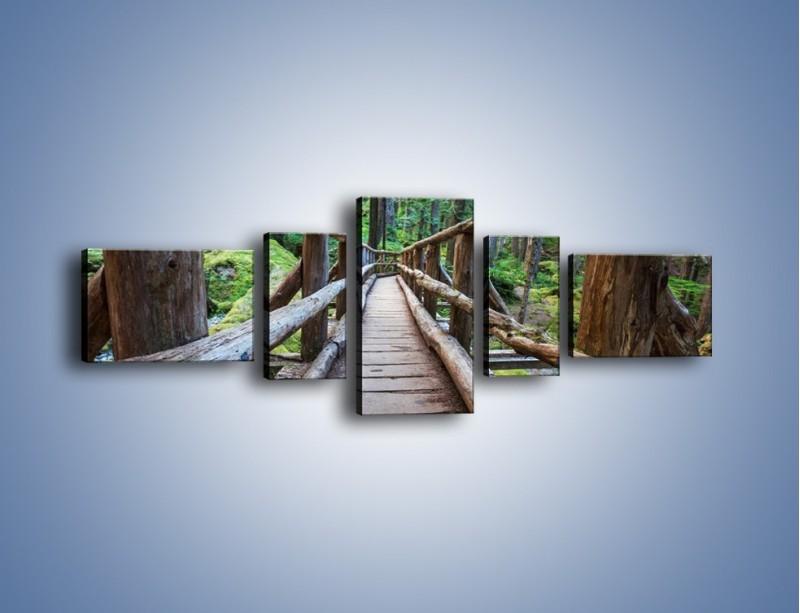 Obraz na płótnie – Mostek z drewnianych bali – pięcioczęściowy KN1207AW6