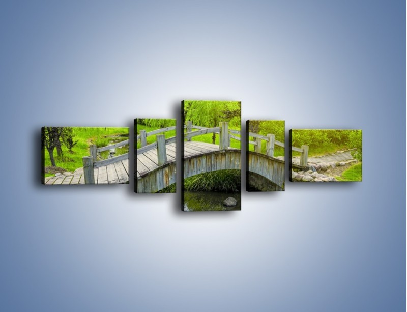 Obraz na płótnie – Mały mostek przez rzeczkę – pięcioczęściowy KN1254AW6