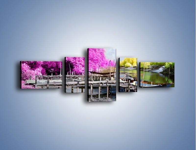 Obraz na płótnie – Wyraźne kolory w szarym tle – pięcioczęściowy KN1334AW6