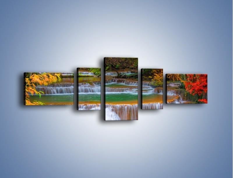Obraz na płótnie – Schodki z wodospadów – pięcioczęściowy KN287W6