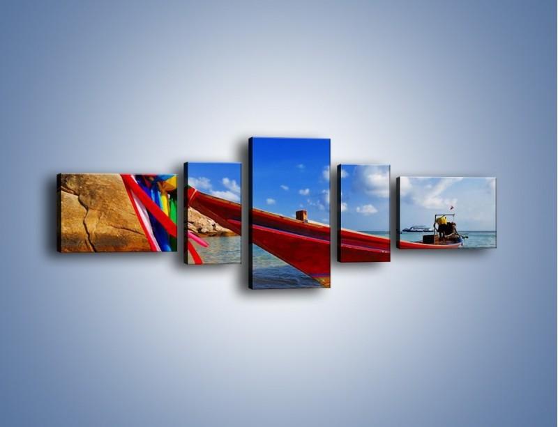 Obraz na płótnie – Kolorowa łódź na brzegu – pięcioczęściowy KN415W6