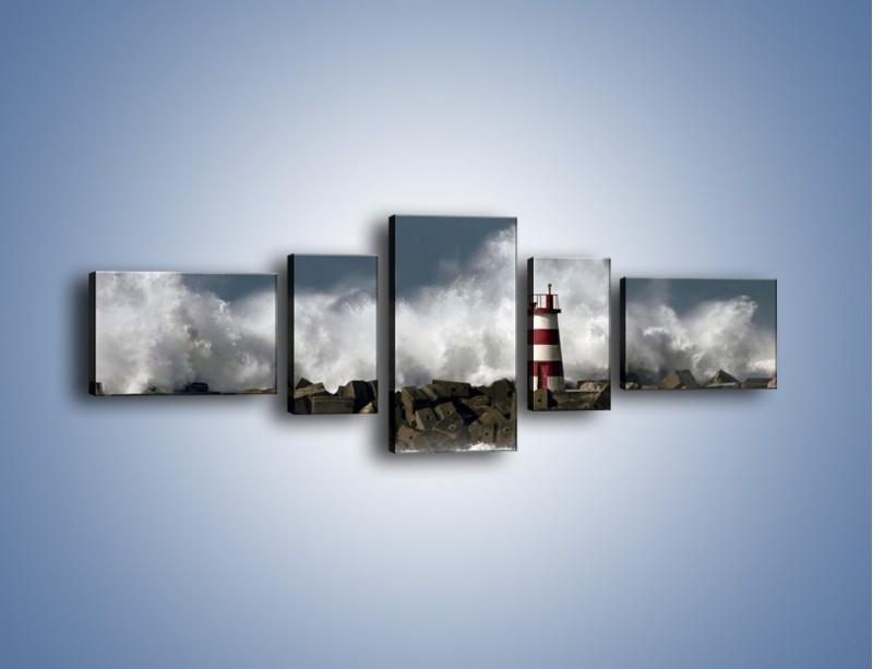 Obraz na płótnie – Latarnia morska w sztormie – pięcioczęściowy KN626W6