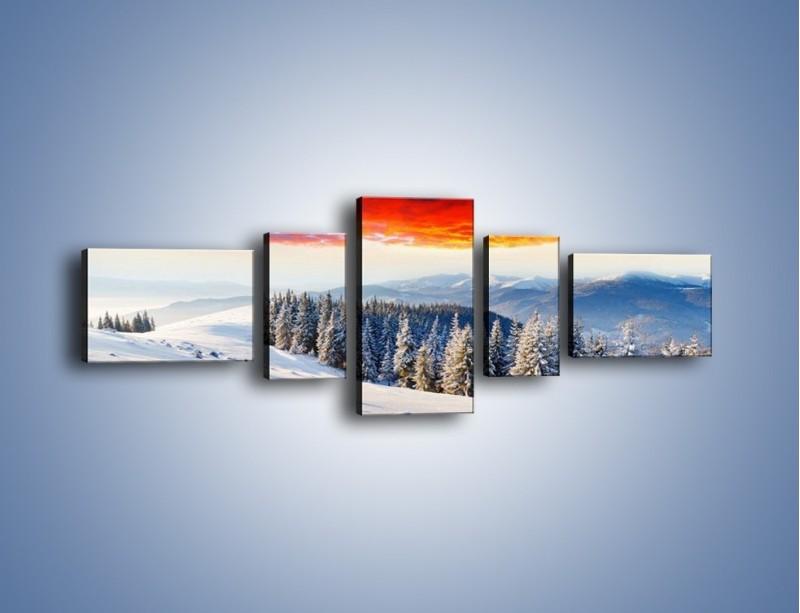 Obraz na płótnie – Cały urok gór zimą – pięcioczęściowy KN805W6