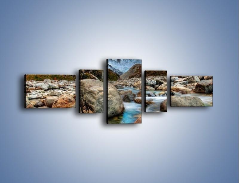 Obraz na płótnie – Niebezpieczny spacer po mokrych kamieniach – pięcioczęściowy KN810W6