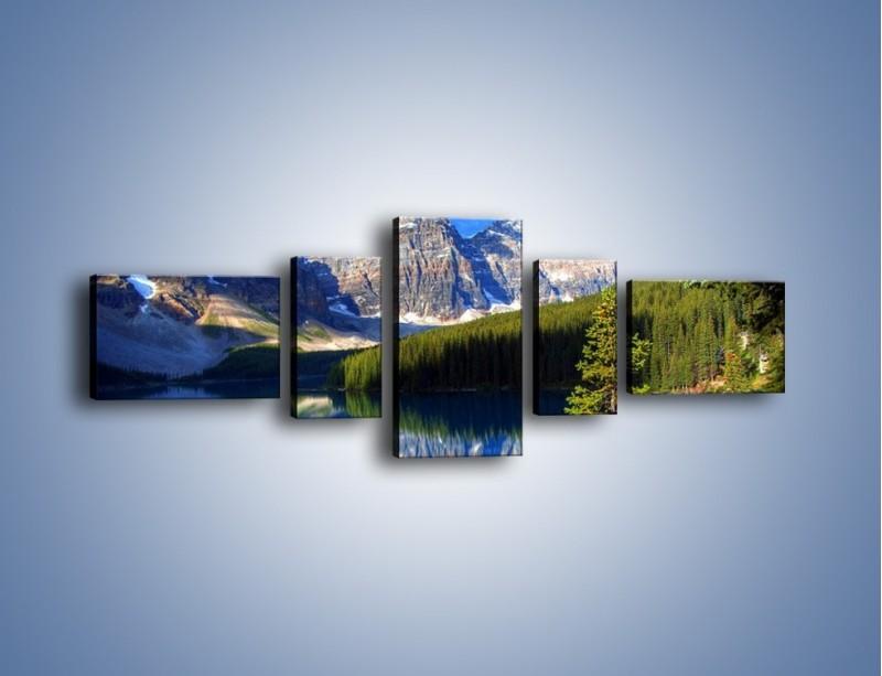 Obraz na płótnie – Góry i ich wodne odbicie – pięcioczęściowy KN839W6