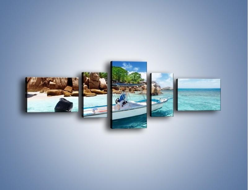 Obraz na płótnie – Błękit w wodzie i niebie – pięcioczęściowy KN852W6