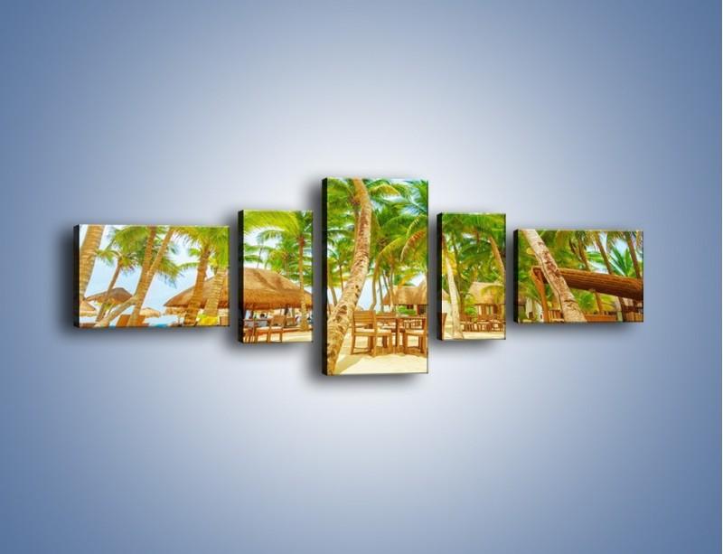 Obraz na płótnie – Słoneczna sjesta pod palmami – pięcioczęściowy KN886W6