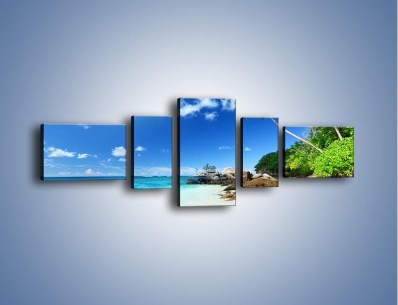 Obraz na płótnie – Rajska plaża i jej piękno – pięcioczęściowy KN963W6