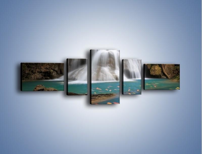 Obraz na płótnie – Wodospad i kolorowe rybki – pięcioczęściowy KN994W6