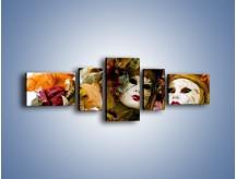 Obraz na płótnie – Magia kolorów i maski – pięcioczęściowy L052W6