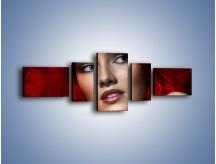 Obraz na płótnie – Kobieta w czerwieni – pięcioczęściowy L187W6