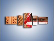 Obraz na płótnie – Kolory indii na twarzy – pięcioczęściowy L356W6