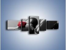 Obraz na płótnie – Czerwień wśród czarności – pięcioczęściowy O212W6