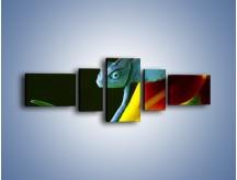 Obraz na płótnie – Liść w łapce kameleona – pięcioczęściowy Z005W6