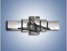 Obraz na płótnie – Lwica w sepii – pięcioczęściowy Z205W6