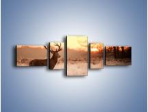 Obraz na płótnie – Jeleń szukający sarny – pięcioczęściowy Z306W6