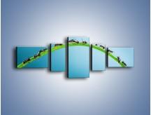 Obraz na płótnie – Mrówki na zielonym moście – pięcioczęściowy Z336W6