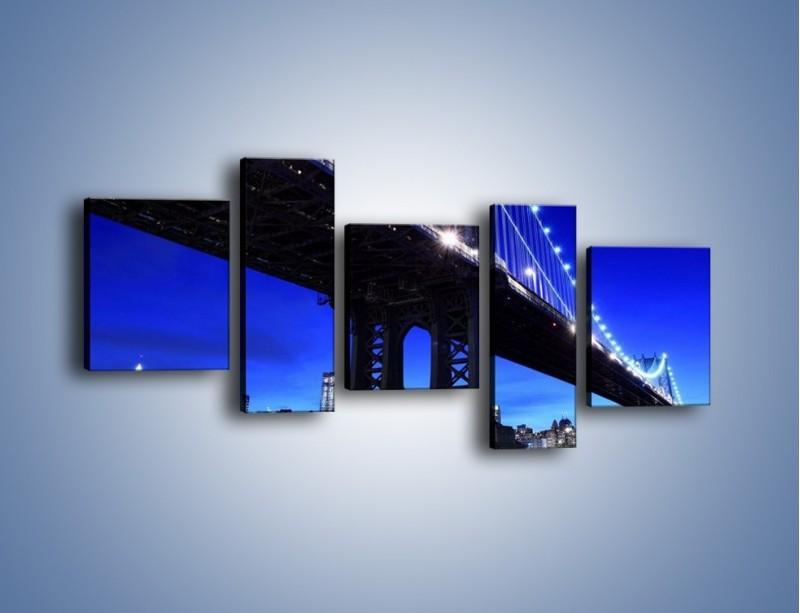 Obraz na płótnie – Oświetlony most wieczorem – pięcioczęściowy AM003W7