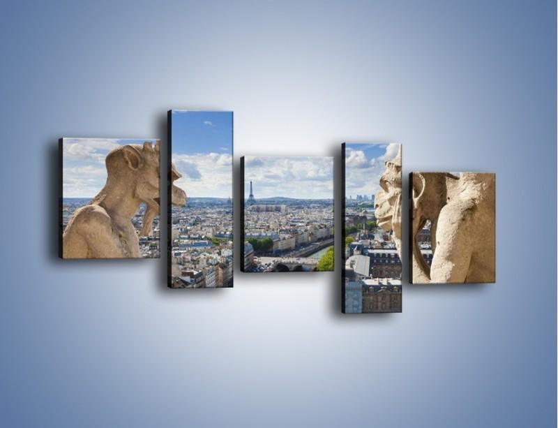 Obraz na płótnie – Kamienne gargulce nad Paryżem – pięcioczęściowy AM037W7