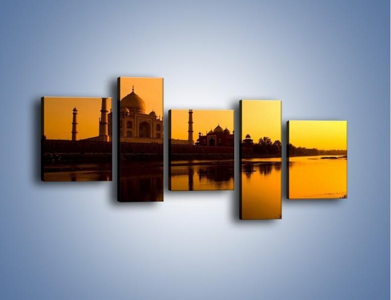 Obraz na płótnie – Taj Mahal o zachodzie słońca – pięcioczęściowy AM075W7