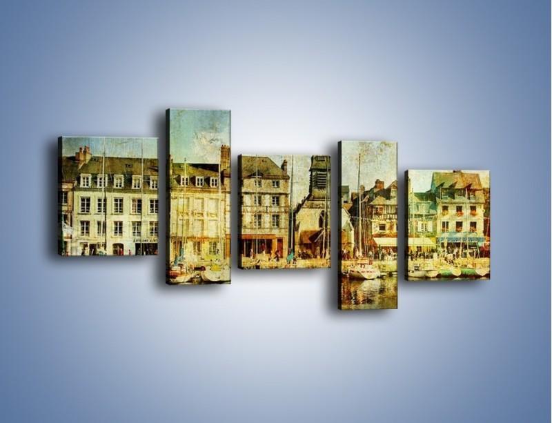 Obraz na płótnie – Łódki nad brzegiem miasteczka w stylu vintage – pięcioczęściowy AM108W7
