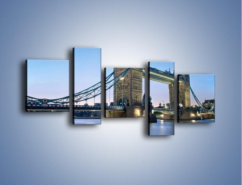 Obraz na płótnie – Tower Bridge o poranku – pięcioczęściowy AM143W7
