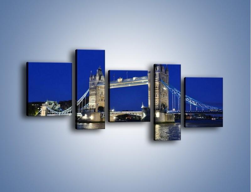 Obraz na płótnie – Tower Bridge nocą – pięcioczęściowy AM145W7