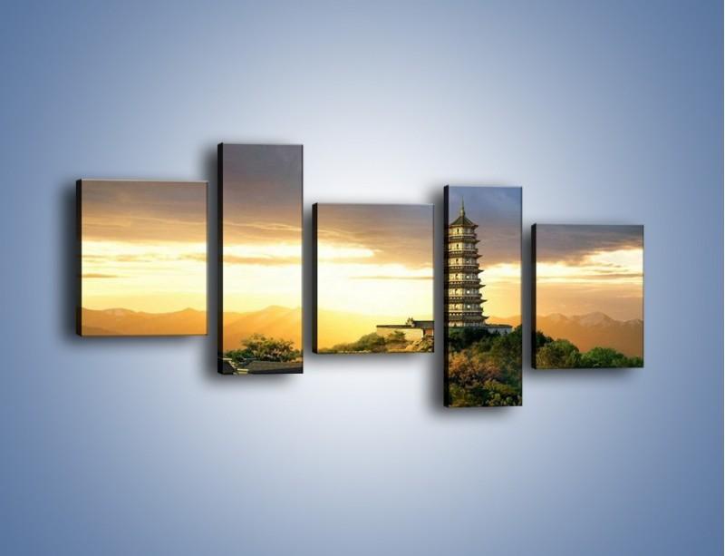 Obraz na płótnie – Azjatycka architektura o poranku – pięcioczęściowy AM151W7