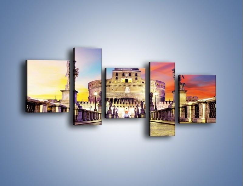 Obraz na płótnie – Zamek św. Anioła na tle kolorowego nieba – pięcioczęściowy AM156W7