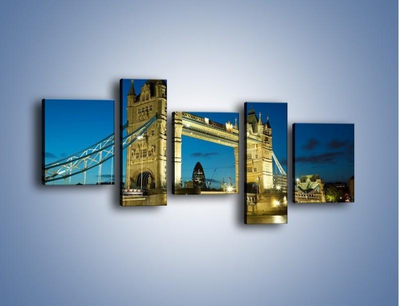 Obraz na płótnie – Tower Bridge wieczorową porą – pięcioczęściowy AM159W7