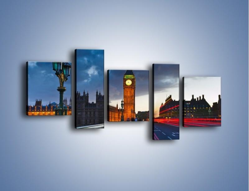 Obraz na płótnie – Big Ben świetle lamp – pięcioczęściowy AM166W7