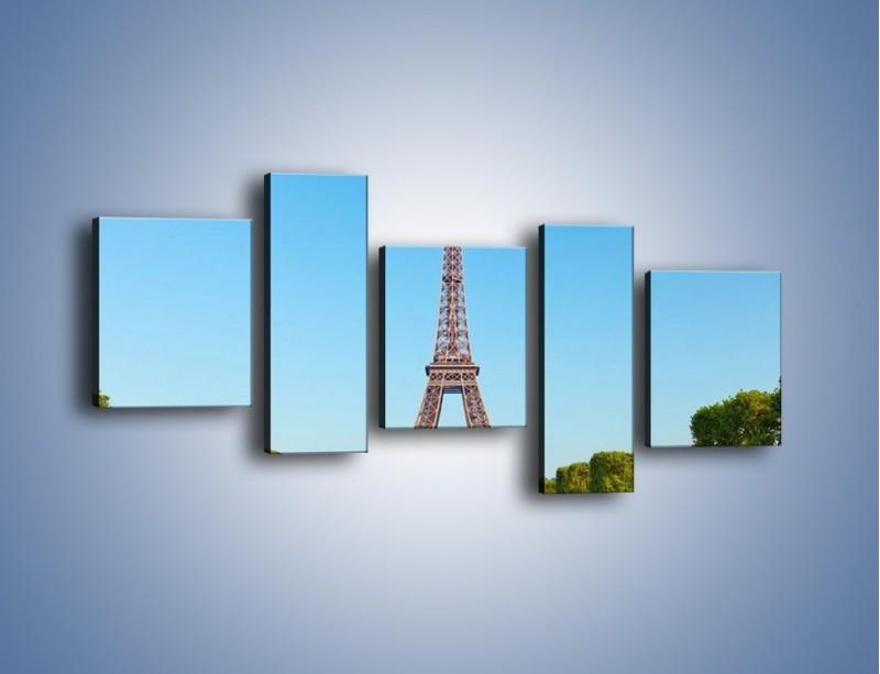 Obraz na płótnie – Wieża Eiffla pod błękitnym niebem – pięcioczęściowy AM171W7