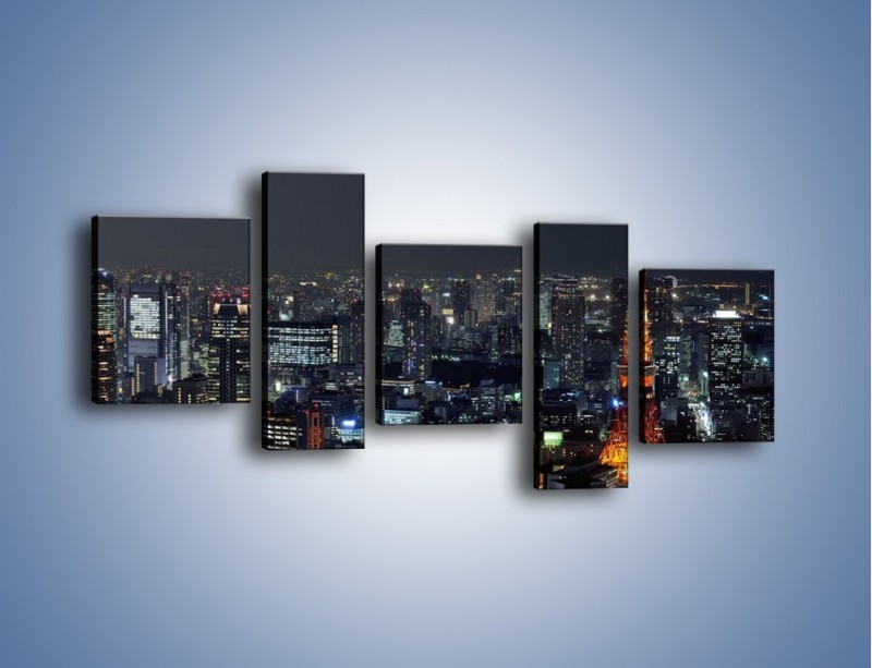 Obraz na płótnie – Rozświetlona Wieża Eiffla nocą – pięcioczęściowy AM174W7