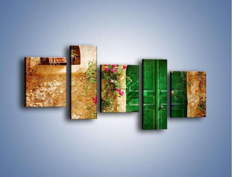 Obraz na płótnie – Drzwi w greckim domu vintage – pięcioczęściowy AM192W7