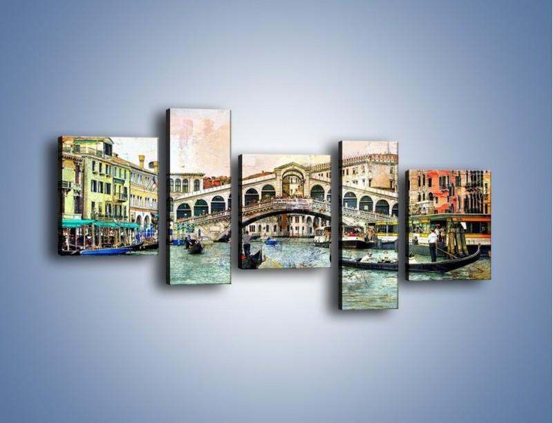 Obraz na płótnie – Wenecja w stylu vintage – pięcioczęściowy AM239W7