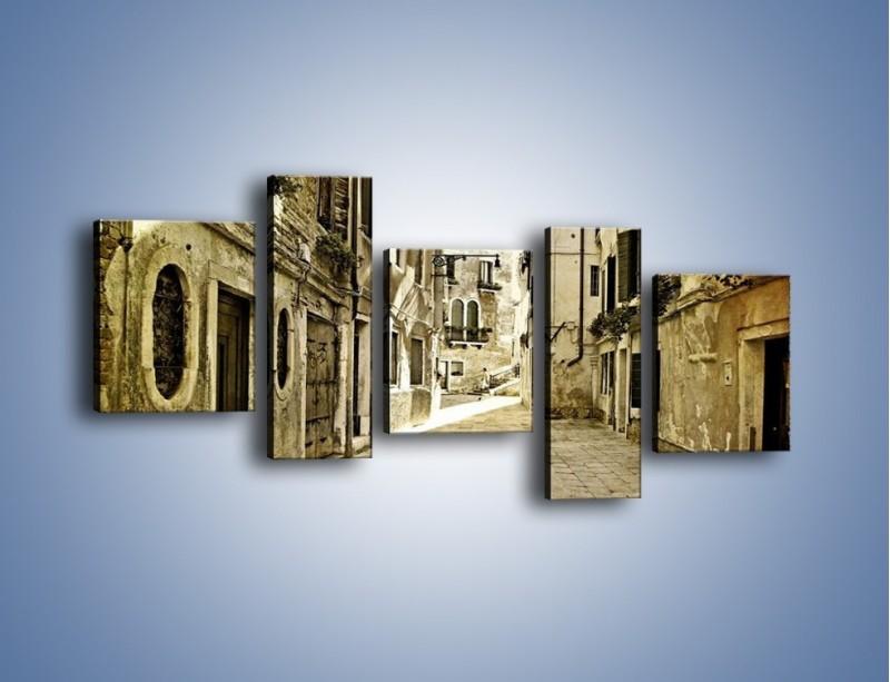 Obraz na płótnie – Stara uliczka w stylu vintage – pięcioczęściowy AM243W7
